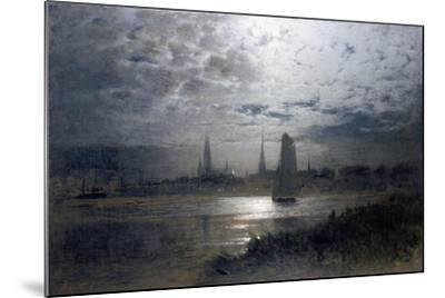 Moonlight over Luebeck-Louis Douzette-Mounted Giclee Print