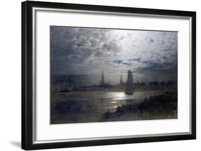 Moonlight over Luebeck-Louis Douzette-Framed Giclee Print