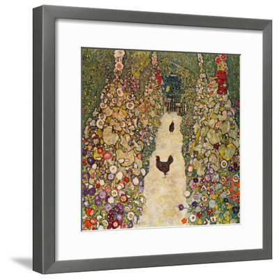 Garden Path with Chickens, 1916, Burned at Schloss Immendorf in 1945-Gustav Klimt-Framed Premium Giclee Print