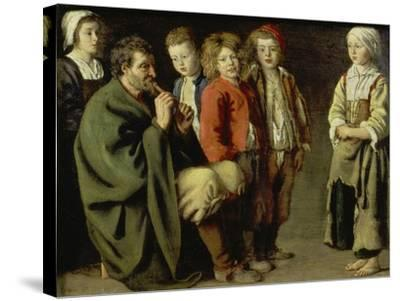 The Old Flutist-Louis Le Nain-Stretched Canvas Print