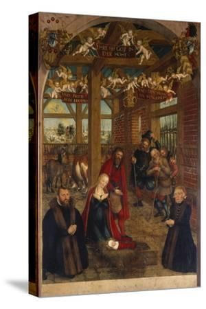 Adoration of the Shepherds, Epitaph for Caspar Niemeck, 1564-Lucas Cranach the Younger-Stretched Canvas Print