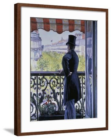 Man on a Balcony, Boulevard Haussmann, 1880-Gustave Caillebotte-Framed Giclee Print