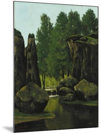 Landscape with Brook and Rocks-Gustave Courbet-Mounted Giclee Print