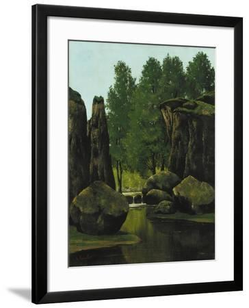 Landscape with Brook and Rocks-Gustave Courbet-Framed Giclee Print