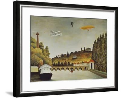 View of the Bridge at Sevres and the Hills at Clamart, St, Cloud, 1908-Henri Rousseau-Framed Giclee Print