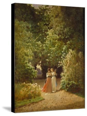 Strolling Women in the Park, 1873-Jozef Szermontowski-Stretched Canvas Print