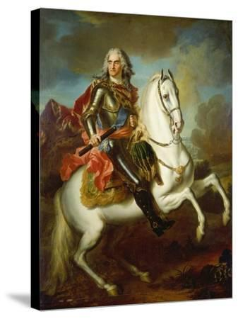 King Augustus II, (The Strong) of Poland Mounted on a Horse, C. 1718-Louis Silvestre-Stretched Canvas Print
