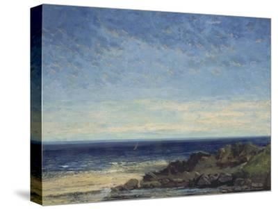 The Sea - Blue Sea, Blue Sky, 1867-Gustave Courbet-Stretched Canvas Print
