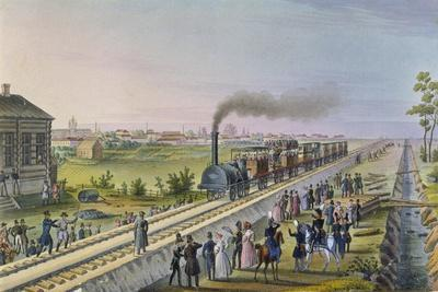Opening of the First Railway Line from St. Petersburg to Pavlovsk in 1837--Premium Giclee Print