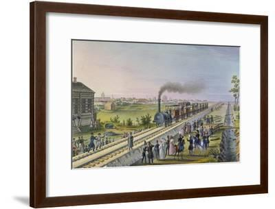 Opening of the First Railway Line from St. Petersburg to Pavlovsk in 1837--Framed Giclee Print
