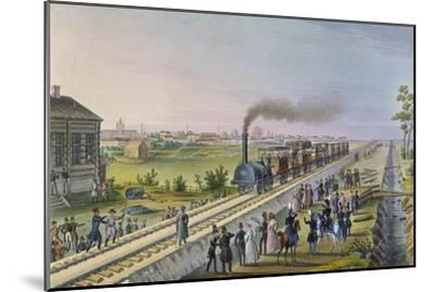 Opening of the First Railway Line from St. Petersburg to Pavlovsk in 1837--Mounted Giclee Print