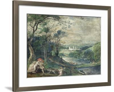 Venus and Adonis in Wooded Landscape Near Beersel Castle-Niederländischer Meister-Framed Giclee Print