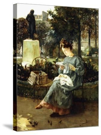 Afternoon in the Luxembourg Gardens-Victor Marec-Stretched Canvas Print