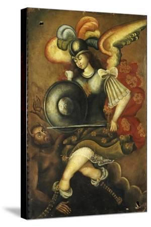 Der Erzengel Michael Und Der Teufel- Peruvian-Stretched Canvas Print