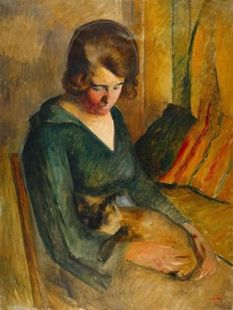 Seated Woman with a Cat on Her Knees (Femme Assise Avec Chat Sur Ses Genoux)-Roderick O'Connor-Framed Giclee Print
