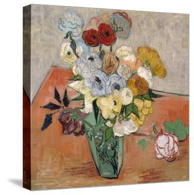 Vase with Roses and Anemones, 1890-Vincent van Gogh-Stretched Canvas Print