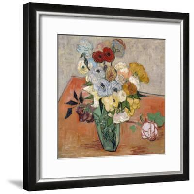 Vase with Roses and Anemones, 1890-Vincent van Gogh-Framed Giclee Print