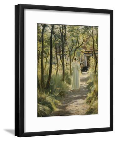 Marie, the Artist's Wife, in the Garden, 1895-Peter Severin Kroyer-Framed Giclee Print