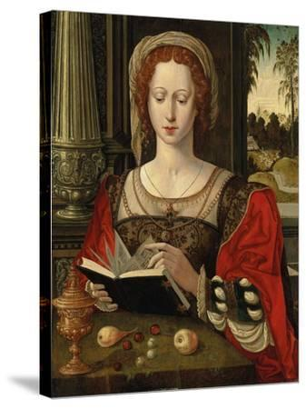 Saint Mary Magdalene Reading, at a Table with Fruit and a Golden Tazza--Stretched Canvas Print