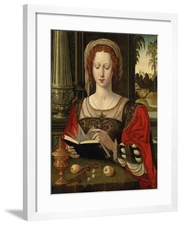 Saint Mary Magdalene Reading, at a Table with Fruit and a Golden Tazza--Framed Giclee Print