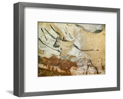 Caves of Lascaux, Fourth Bull, Below: Red Cow with Calf, Great Hall, Right Wall, C. 17,000 BC--Framed Giclee Print