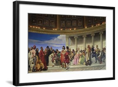 Wall Painting in the Academy of Arts, Paris, 1841 (Left Hand Side)-Paul Delaroche-Framed Giclee Print