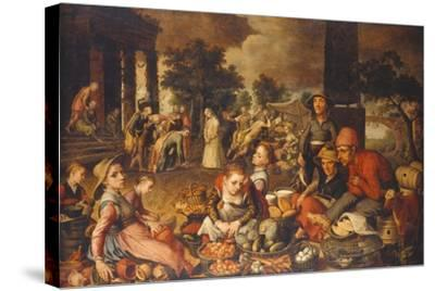 Market Scene with Christ and the Adulteress-Pieter Bruegel the Elder-Stretched Canvas Print