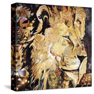 The Lion-James Grey-Stretched Canvas Print