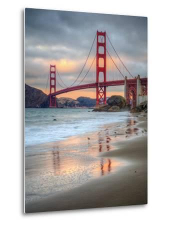 Marshall Beach Sunset and Golden Gate Bridge, California-Vincent James-Metal Print