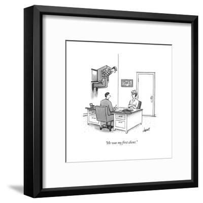 """""""He was my first client."""" - New Yorker Cartoon-Tom Cheney-Framed Premium Giclee Print"""
