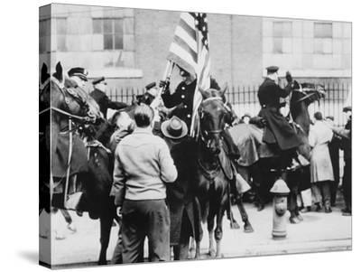 Mounted Police Clashing with Strikers, Outside an Electrical Plant in Philadelphia--Stretched Canvas Print