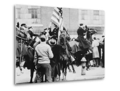 Mounted Police Clashing with Strikers, Outside an Electrical Plant in Philadelphia--Metal Print
