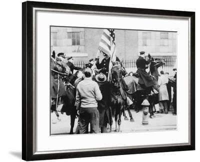 Mounted Police Clashing with Strikers, Outside an Electrical Plant in Philadelphia--Framed Photo
