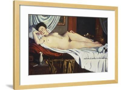 Sleeping Venus, (Naked Woman on a Bed) Woman-Pietro Marussig-Framed Art Print