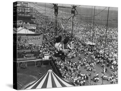 Beach Crowds as Seen from the Parachute Jump at Steeple Park, Coney Island, NY, 1950--Stretched Canvas Print