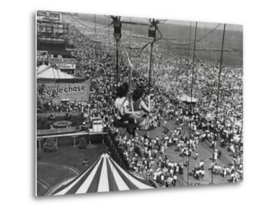 Beach Crowds as Seen from the Parachute Jump at Steeple Park, Coney Island, NY, 1950--Metal Print