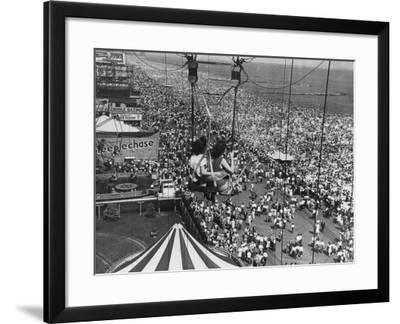 Beach Crowds as Seen from the Parachute Jump at Steeple Park, Coney Island, NY, 1950--Framed Photo