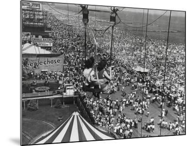 Beach Crowds as Seen from the Parachute Jump at Steeple Park, Coney Island, NY, 1950--Mounted Photo