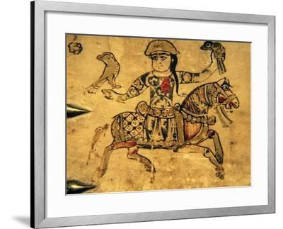 Falconer on Horseback, Detail from Ivory Casket, 11-12th C Art Print by |  Art com