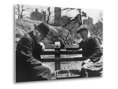 Two Old-Timers Playing Chess on a Central Park Bench in New York City, May 1946--Metal Print