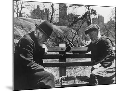 Two Old-Timers Playing Chess on a Central Park Bench in New York City, May 1946--Mounted Photo
