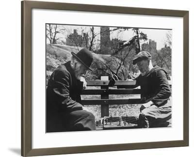 Two Old-Timers Playing Chess on a Central Park Bench in New York City, May 1946--Framed Photo