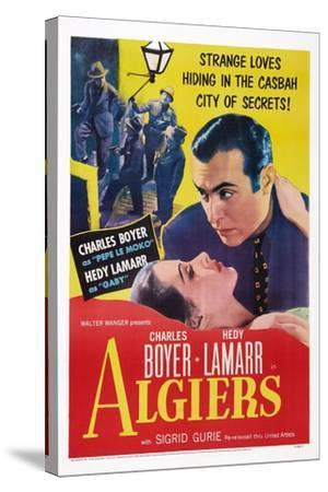 Algiers, from Left: Hedy Lamarr, Charles Boyer, 1938--Stretched Canvas Print