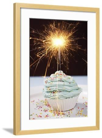 Single Cupcake with Lit Sparkler--Framed Photo