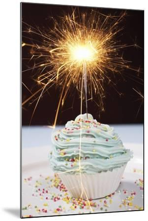 Single Cupcake with Lit Sparkler--Mounted Photo