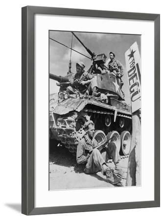 U.S. Soldiers Guard a Roadblock on the Naktong River Front in the Taegu Area with an M-24 Tank--Framed Photo