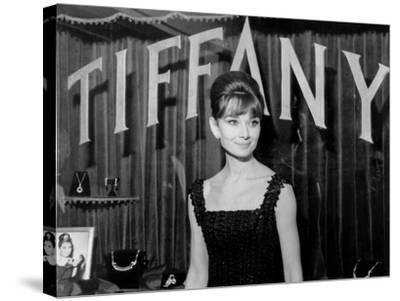 Audrey Hepburn, at a Press Event for Breakfast at Tiffany'S, 1961--Stretched Canvas Print