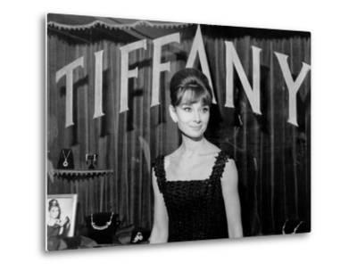 Audrey Hepburn, at a Press Event for Breakfast at Tiffany'S, 1961--Metal Print