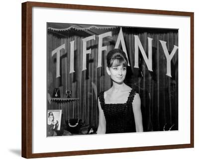 Audrey Hepburn, at a Press Event for Breakfast at Tiffany'S, 1961--Framed Photo