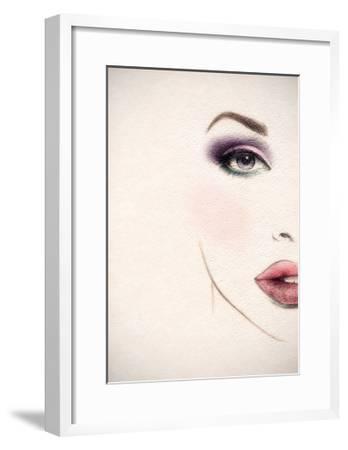 Beautiful Woman Face. Watercolor Illustration-Anna Ismagilova-Framed Art Print